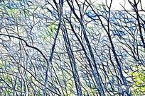 树林无框艺术画