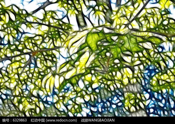 树木枝叶抽象线条画