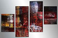 四联抽象画 无框画 抽象油画