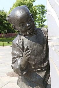 童趣铜雕古代男孩雕像