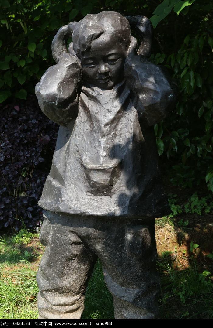 童趣铜雕捂耳朵的小女孩雕像