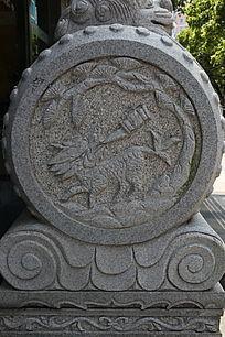 麒麟图案门墩石刻