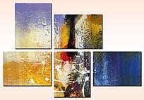 现代抽象油画 多联组合抽象画