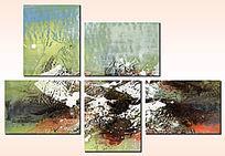 组合抽象画 抽象油画 三拼抽象画