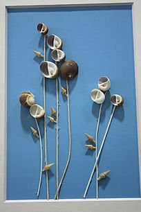 贝壳装饰画花卉