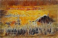 电脑油画《山野农家》
