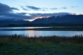 日落风景图晚霞新西兰风景图片