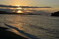 新西兰日落晚霞海边风景