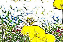 黄色虞美人装饰画艺术画抽象画