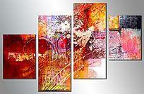 客厅三联抽象画
