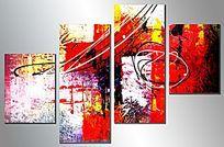 客厅无框画 三联抽象画