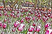 硕大粉红郁金香装饰画无框画抽象画艺术画