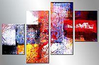 四联组合抽象画高清图