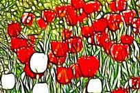 王子郁金香装饰画无框画艺术画抽象画
