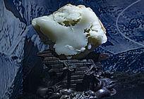中国版图形状白玉石雕