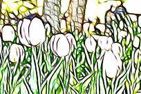 淡粉色郁金香抽象画艺术画