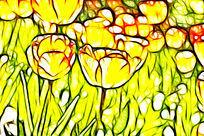 淡黄色斑点郁金香抽象画艺术画