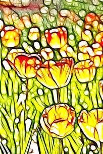 淡黄色斑点郁金香装饰画艺术画