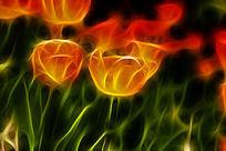 淡橘色郁金香装饰艺术画