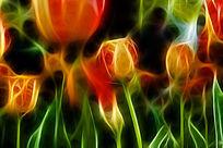 红黄郁金香抽象艺术画