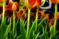 红黄郁金香装饰艺术画