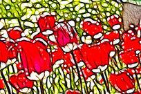 红色印象郁金香无框画抽象画艺术画