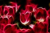 红色郁金香装饰艺术画