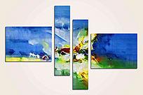 蓝色四联抽象油画