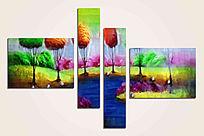 四联风景抽象油画拼套组合画