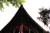 北京大观园仿古建筑屋角特写图片