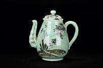 釉下彩描金花卉纹西洋茶壶