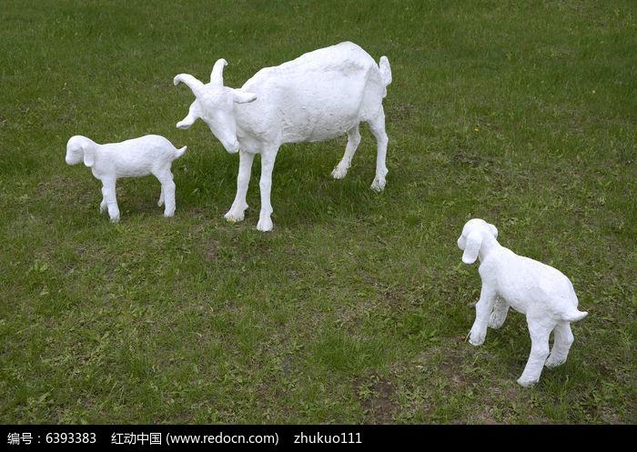 动物小羊油画图片