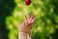 想抓樱桃的手