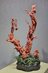 红珊瑚雕飞天