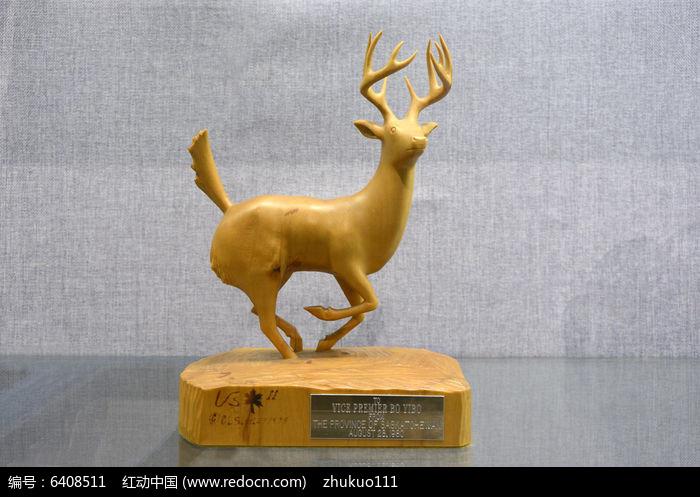 木雕奔跑的鹿图片,高清大图_雕刻艺术素材