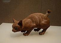 石湾窑黄炳塑素胎金丝猫