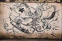 黑白杂锦抽象艺术涂鸦墙