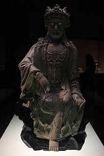 青白釉水月观音菩萨像