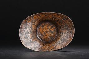 铜质元宝形茶道杯托立面图