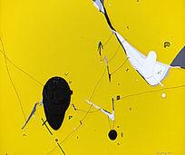 抽象画黄色流动
