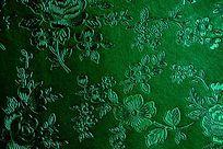 绿色花纹压纹皮革