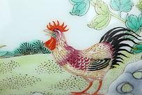 公鸡瓷版画