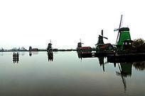 荷兰桑斯安斯风车村风车