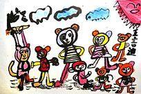猴子创意水墨画