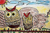 猫头鹰卡通彩画