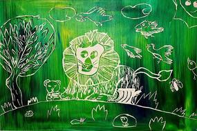 狮子色彩版画