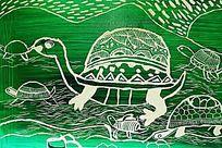 乌龟卡通版画