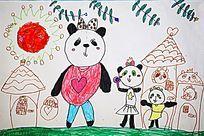 熊猫一家卡通画