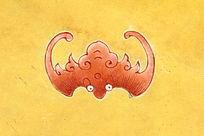 粉彩描金蝙蝠图案