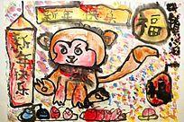 猴子水墨国画